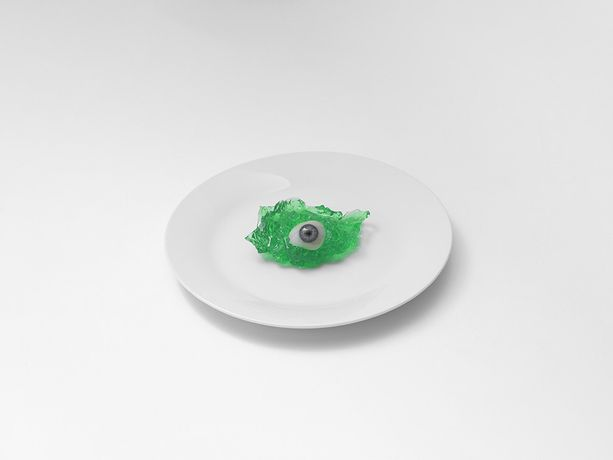Glass Eye on White Plate, London, 2017, © Brian Griffin