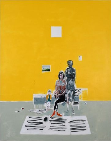 Brian Harte, The artist and his family, 2017, Oil on linen, 165 x 210 cm