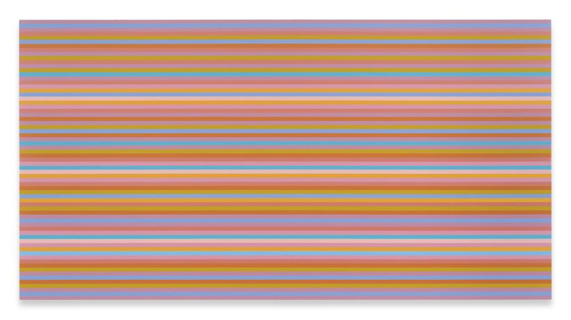Bridget Riley Memories of Horizons 3, 2014 Oil on canvas 175 x 333 cm 69 x 131 inches © Bridget Riley 2018. All rights reserved. Courtesy the artist, Sprüth Magers Berlin/London/Los Angeles, Galerie Max Hetzler Berlin/Paris, and David Zwirner New York/London