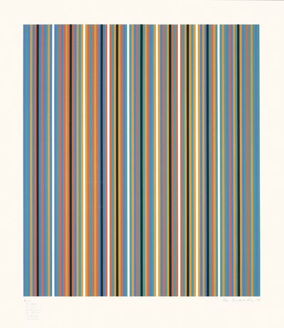 Bridget Riley, RA 2 Screenprint in colours, 1981.  Signed in pencil and numbered from the edition of 75.  Printed by Sally Gimson at Artizan Editions, Hove.  (Schubert 28) 106.6 x 93.2 cm
