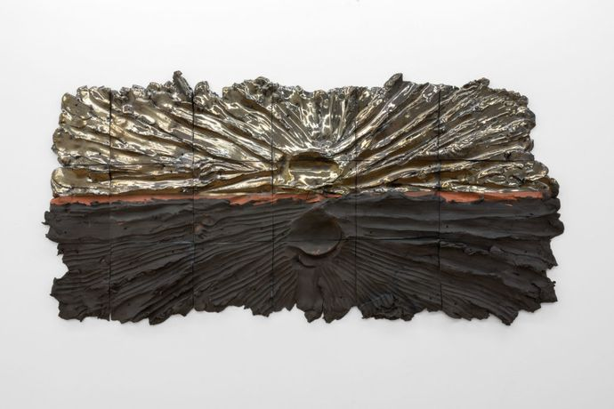 Landscape Painting with 130lbs of Clay (Dark Sky Law), 130lbs (AKA Black Horizon), 2016 Glazed ceramic, hardware 34 X 69 86.36cm X 175.26cm