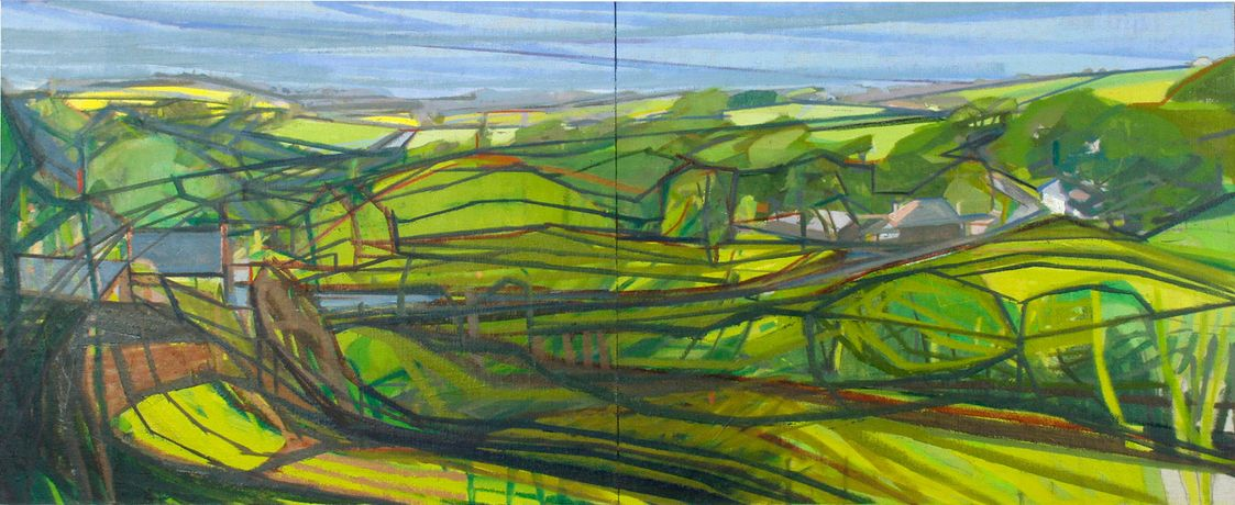 Judi Green 'In Hold of The View' diptych, oil on linen laid on panel