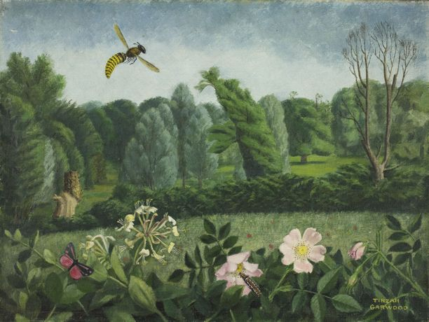 Tirzah Garwood Hornet with Wild Roses 1950. © Estate of Tirzah Ravilious. All rights reserved DACS 2018. Towner Collection.