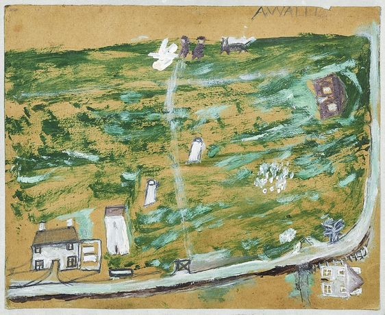 ALFRED WALLIS, Green Landscape (Rosewell Hill) Signed upper right Oil and pencil on card 25.5 x 31 cm 10 x 12 1/4 inches