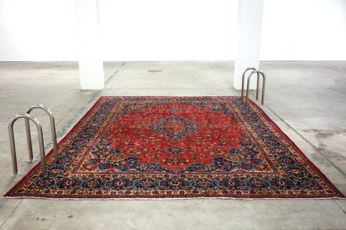 littlewhitehead, When will it end?, Persian rug, stainless steel, mild steel, 397 x 291 x 63 cm. Courtesy of the artist and Copperfield, London.