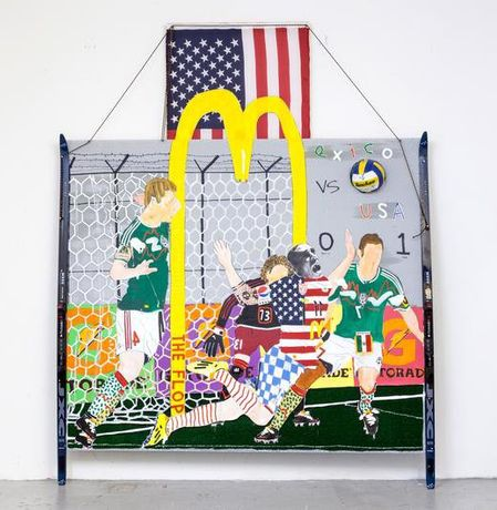 Michael Shultis The Flop, 2014 Oil, acrylic, ink, astroturf, volleyball, bed sheet, string, wood, photo transparency, found skis and american flag 109 x 86 x 16 in Courtesy of the artist