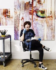 Marilyn Minter in her studio, 2015. Photo by Nadya Wasylko