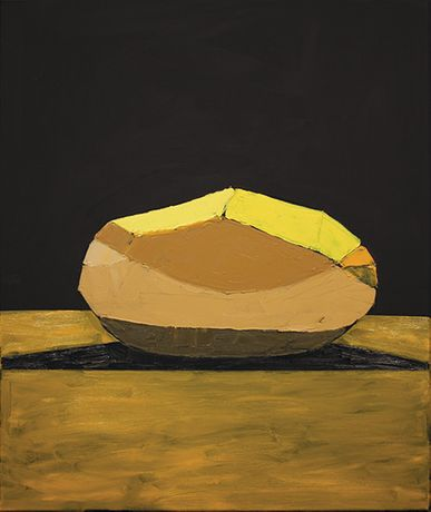Bruce McLean. A Carefully Peeled Golden Wonder Against A Dark Background. 2014