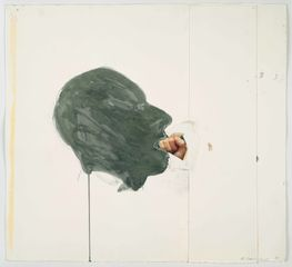 Bruce Nauman. Fist in Mouth. 1990. Cut-and-pasted printed paper and paper with watercolor and pencil on paper, 20 1/4 x 23 3/4 (51.4 x 60.3 cm). The Museum of Modern Art, New York. Purchased with funds given by Edward R. Broida. © 2017 Bruce Nauman/Artists Rights Society (ARS), New York