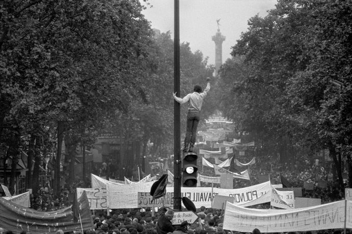 One million demonstrators walking towards the Place de la Bastille, May 13th, 1968  Copyright Bruno Barbey. Magnum Photos.