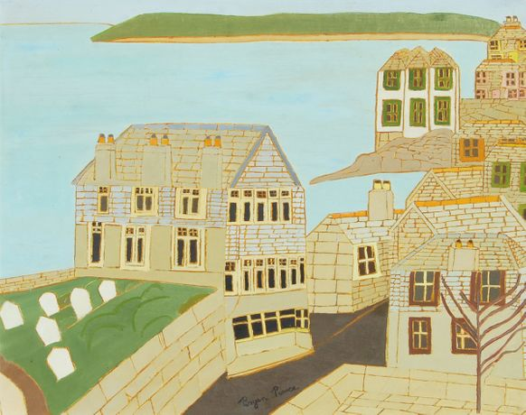 Chy-an-Eglos from the Artist's Window, 1963. Oil on board; 59 x 74 cms
