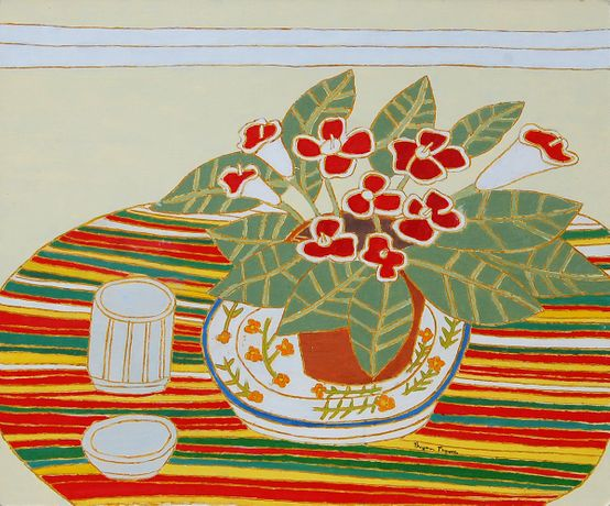 Red and White Gloxinia on Striped Cloth, 1993. Oil on board; 50.5 x 61.5 cms