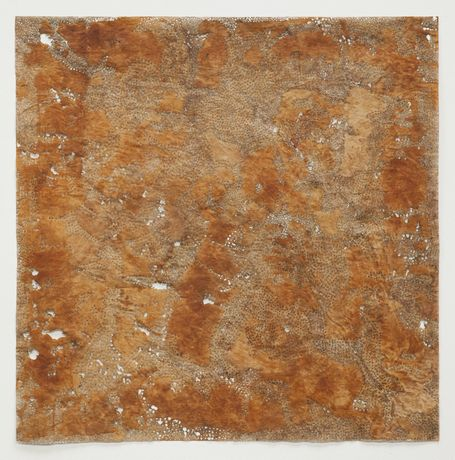 Jay McCafferty, Rust 5 solar burns and rust on paper, 36 x 36 inches