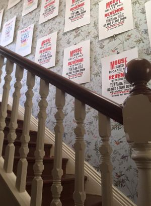 Protest Posters up the stairs