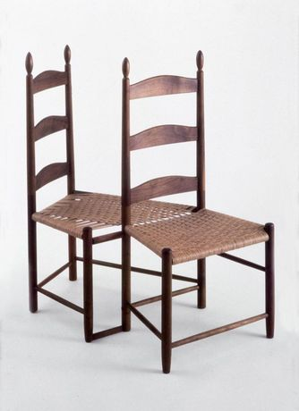 "David Perry; Shaker Chairs;  Walnut and fiber splint; 38.5"" x 36"" x 20"""