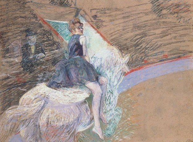 Henri de Toulouse-Lautrec (French, 1864-1901) At the Cirque Fernando, Rider on a White Horse, 1887-1888 Pastel and drained oil on board  Norton Simon Art Foundation