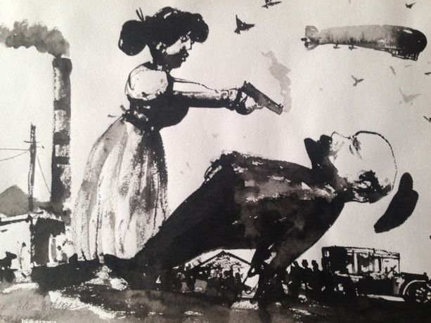 Konstantin Batynkov, 'Fanni at Michelson's Factory', 2011 Ink on paper. 29.8 х 41.8 cm