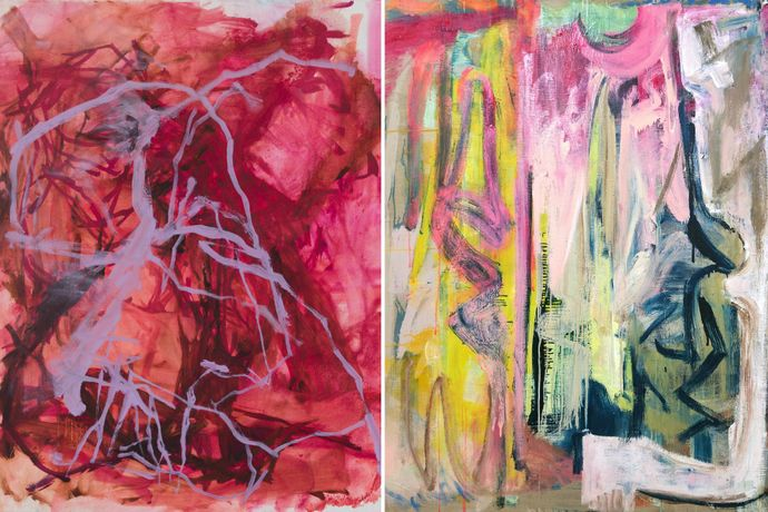 Image Left to Right: Elizabeth Gilfilen, Underscore #2 (2018), Oil on canvas, 20x16; Molly Herman, Looming (2018), Oil on linen, 58 x 48