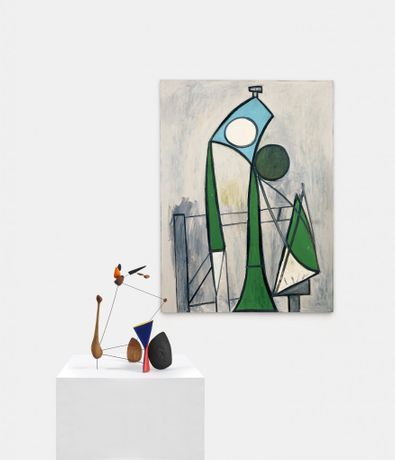 Alexander Calder / Constellation with Diabolo. 1943. Wood, wire, and paint. 24 1/4 x 18 1/4 x 16. © 2016 Calder Foundation, New York / Artists Rights Society (ARS), New York.   Pablo Picasso / Femme. June 8, 1946. Oil on plywood. 51 1/8 x 38 1/8. Zervos XIV-175 © 2016 Succession Picasso / Artists Rights Society (ARS), New York.