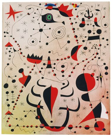 Image Caption: Joan Miró | Le crépuscule rose caresse le sexe des femmes et des oiseaux (The Pink Dusk Caresses the Sex of Women and Birds), August 14, 1941, Gouache and oil wash on paper | 18 1/8 x 15 inches| Private Collection, © 2017 Successió Miró / Artists Rights Society (ARS), New York / ADAGP, Paris|