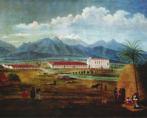 Ferdinand Deppe, San Gabriel Mission . Oil on canvas. c. 1832, 27 x 37 in. Laguna Art Museum.