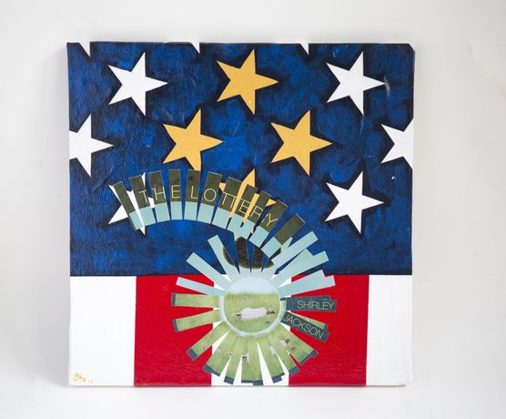 The Lottery, Stuart Sheldon, 2017. Acrylic, US flag and book cover on board