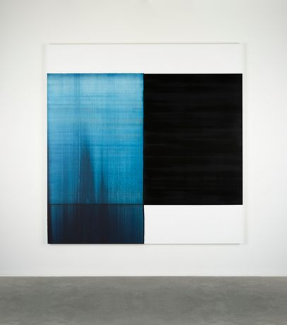 Callum Innes, Exposed Painting Paris Blue, 2018, oil on linen. Image courtesy the artist and Ingleby Gallery.