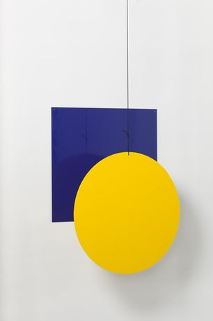 'Vertical Sun', 2014 Hand painted in enamel on aluminium & cord, 63 cm × variable height