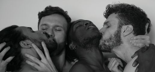 Camilo Godoy, 'Self-portrait with Brendan Mahoney, Carlos Martiel and Jorge Sánchez', from 'Amigxs,' 2017, black and white photograph, 22 × 10 in. (55.88 × 25.4 cm). Courtesy of the artist.