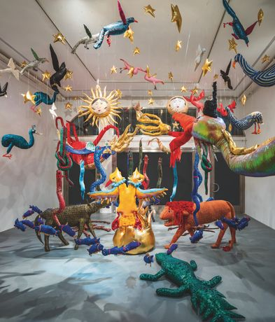 CANAN, Animal Kingdom, 2017, Installation Sequins, (cloth, fibre, rope), Photograph: Murat Germen
