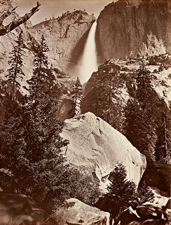Carleton Watkins (American, 1829–1916). Upper Yosemite Fall, Yosemite, 1865–66. Albumen silver print from glass negative. Lent by Department of Special Collections, Stanford University Libraries
