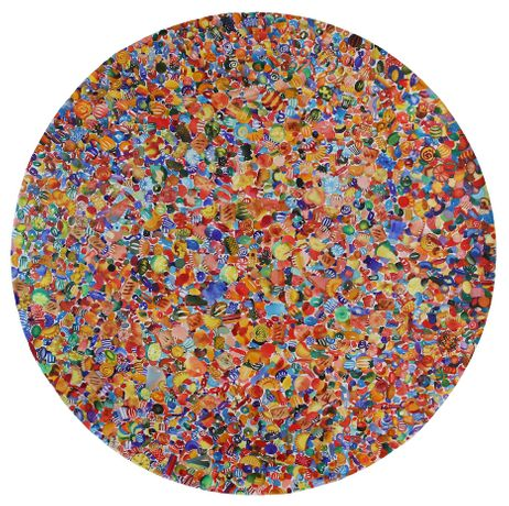 Carlos Gamez de Francisco, 1987 Candies, Application of the Principle of Specialization, Division of Labour, and Standardization of Parts to the Manufacture of Goods. Mass production. Encyclopedia Britannica., 2017, watercolor on canvas, 60 inches (diameter), $7500.