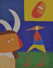 Catauro y la luna/ Catauro and the moon, acrylic/canvas