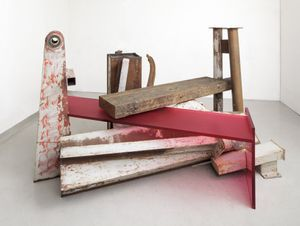 Anthony Caro, Terminus, 2013, steel, jarrah wood, frosted raspberry red perspex, 161x282x215cm, Photo John Hammond, Courtesy Barford Sculptures Limited
