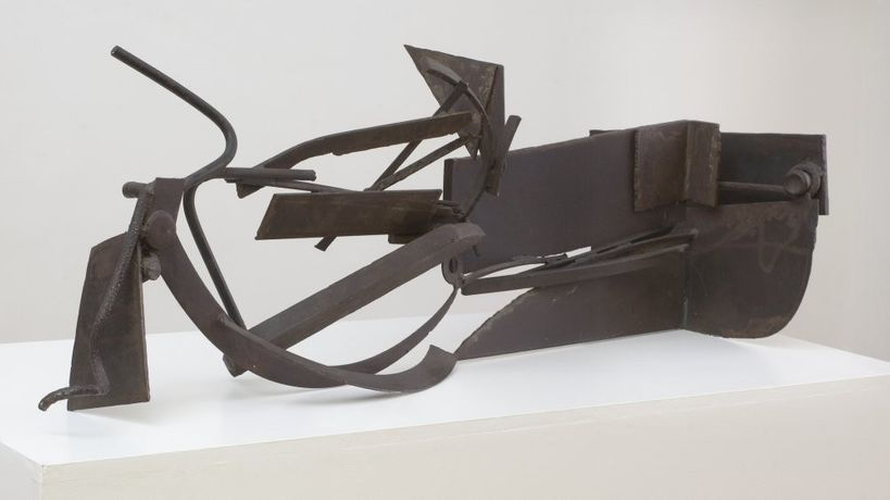 Anthony Caro 1924-2013, Writing Piece 'Furthermore', 1979. Steel 43.2 x 127 x 48.3 cm 17 1/8 x 50 x 19 1/8 in. Copyright Sir Anthony Caro's Estate, Courtesy Piano Nobile.