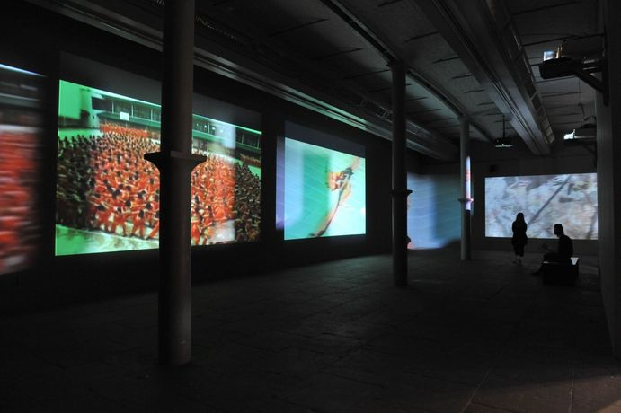 Precarious, 2009  Looped, multi-channel digital video projection, color, sound; motorized mirrors Dimensions variable Edition of 6 Installation view: Tate Liverpool, Liverpool, England, 2009 *Commissioned by Tate Liverpool's 2009 Abandon Normal Devised (AND) Festival