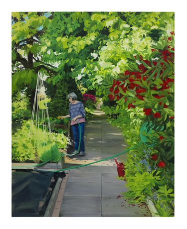 Caroline Walker, 'Watering Sweet Peas, Mid Morning, May', 2019, oil on linen, 210 x 165 cm