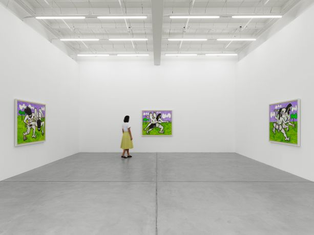 Installation view, Carroll Dunham: Recent Paintings, Galerie Eva Presenhuber, Zurich, 2019 © Carroll Dunham, Courtesy the artist and Galerie Eva Presenhuber, Zurich / New York, Photo: Stefan Altenburger Photography, Zurich