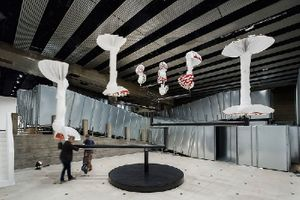 Carsten Höller: Decision, installation view, Hayward Gallery, London, 2015. Artwork © Carsten Höller. Photo by Ela Bialkowska. Flying Mushrooms, 2015, polyester mushroom replicas, polyester paint, synthetic resin, acrylic paint, wire, putty, polyurethane, rigid foam, stainless steel, 200 3/8 (h) × 339 3/8 (diameter) inches (5.09 (h) × 8.62 (diameter) m).