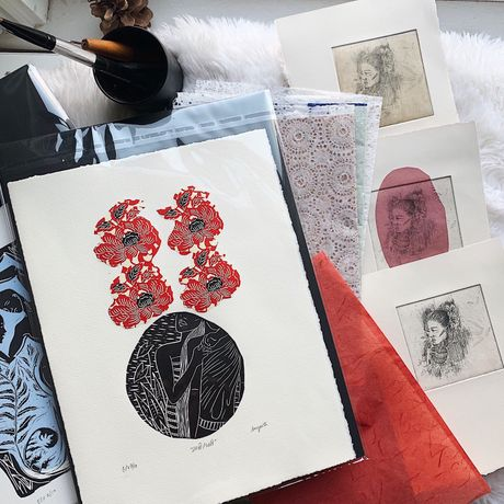 Carve, Ink, Roll - A selection of relief prints by Sangeeta Bhagawati: Image 2