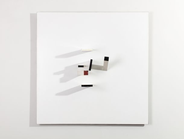 Victor Pasmore, Abstract in White, Black and Ochre, 1963, painted wood and plastic, 121.9 x 121.9cm, Copyright The Estate of Victor Pasmore, Courtesy Marlborough Fine Art