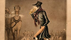 Man covering his mouth with a handkerchief, walking through a smoggy London street 1802. Coloured aquatint - detail (c) Wellcome collection
