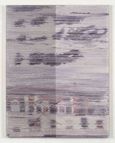 Margo Wolowiec Not This time, 2015 Handwoven polyester, cotton, linen, dye-sublimation ink, fabric dye on linen 60 x 47 inches