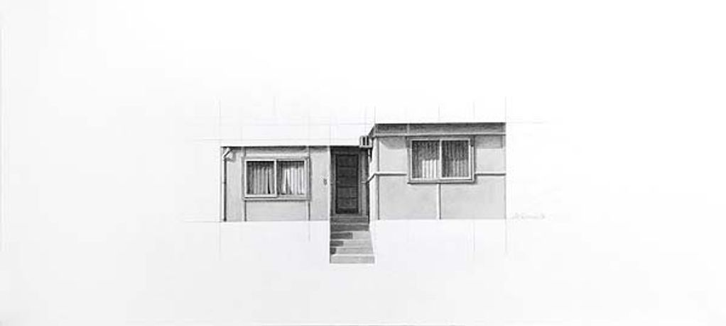 Catherine O'Donnell, 'Urban dwellings series 4' 2016, pencil on paper, 25 x 56cm