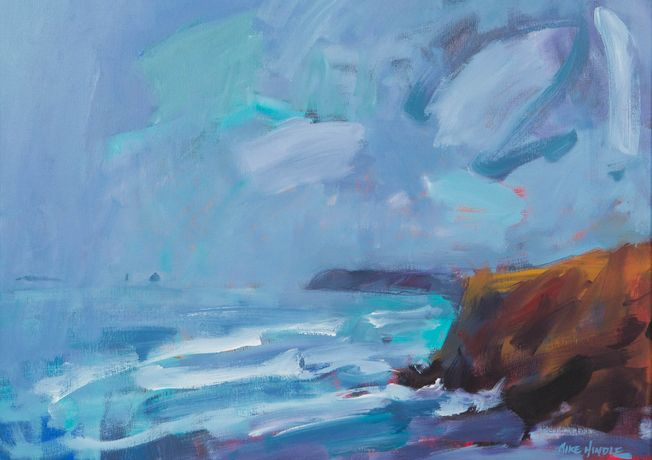 Stormy weather, Perranporth, Mike Hindle, oil on canvas, 22 x 30