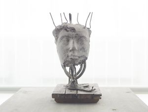 Cecilia Edefalk, Double Marcus Aurelius ,  Silver-oxidized bronze and wood, 39 x 29 x 21 cm