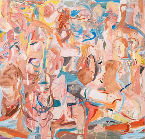 CECILY BROWN Combing the Hair (Côte d'Azur), 2013 Oil on linen 109 x 113 inches (276.9 x 287 cm)