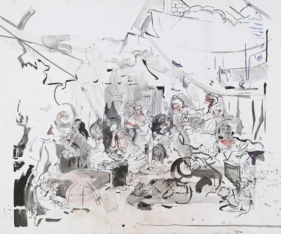Cecily Brown, Strolling Actresses (After Hogarth), 2015. Watercolor and ink on paper. 51 1/2 x 79 inches. Courtesy of the artist.