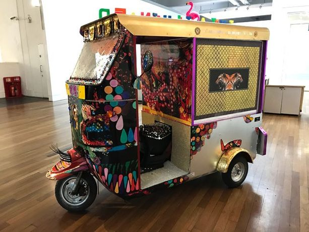Title 'MY VALIENT QUEEN'  TUK TUK 2017-2018 Foyer of Science Museum exhibition INDIA ILLUMINATED