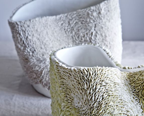 Fenella Elms, Green Stained and Natural Porcelain Flow Pots, Glazed Interiors, H 30 cm. Courtesy of Ceramic Art London